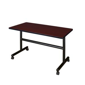 Kobe Mahogany 48 in. W x 24 in. D Flip Top Mobile Training Table