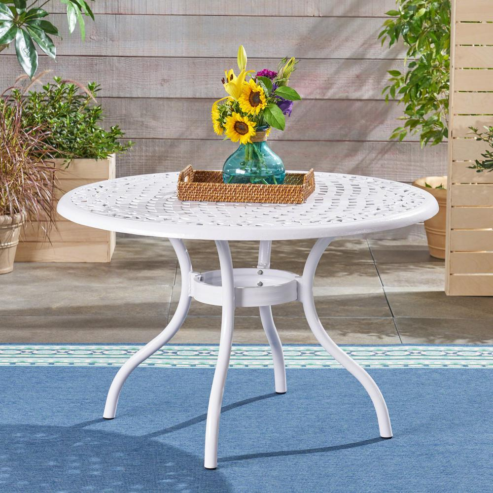 Noble House Phoenix White Round Aluminum Outdoor Dining Table 42292 The Home Depot