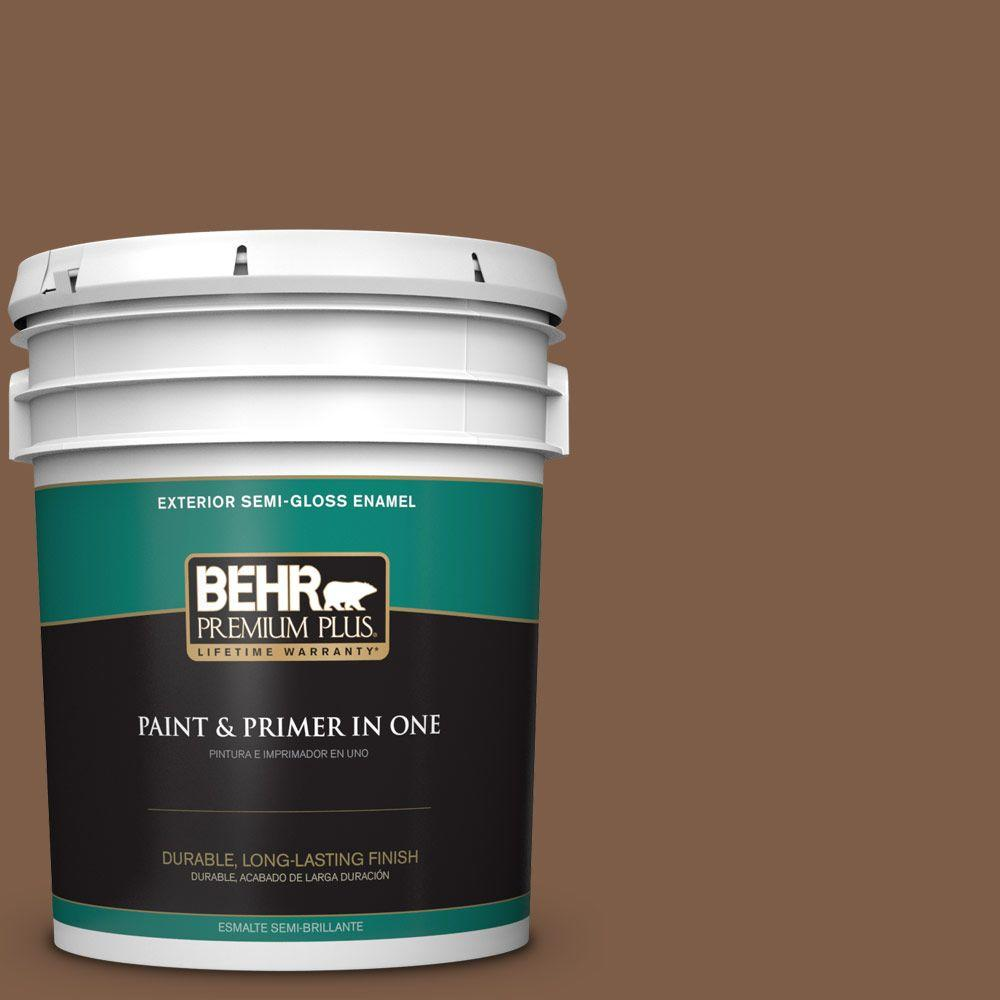 5-gal. #BXC-65 Outback Brown Semi-Gloss Enamel Exterior Paint