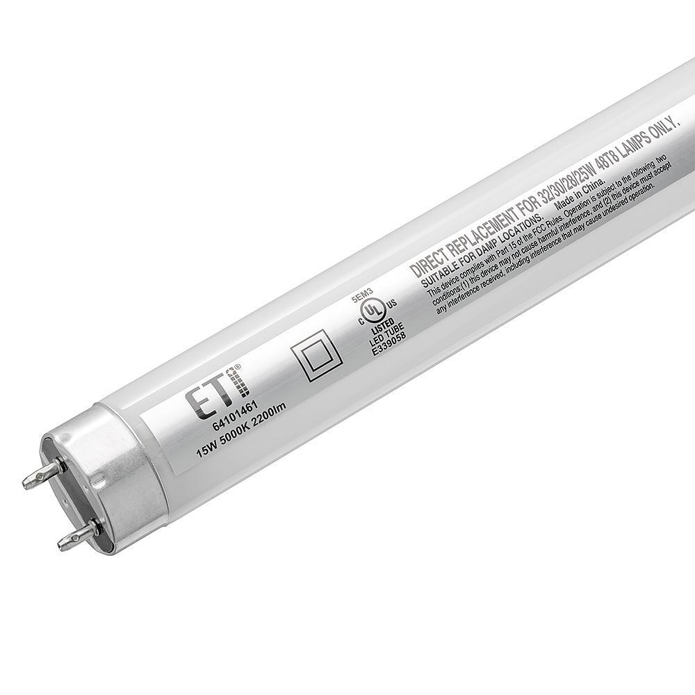 4 ft. 16-Watts Linear T8 LED Tube Light Bulb Shop Light Direct Replacement 2200 Lumens 5000K Daylight (2-Pack)