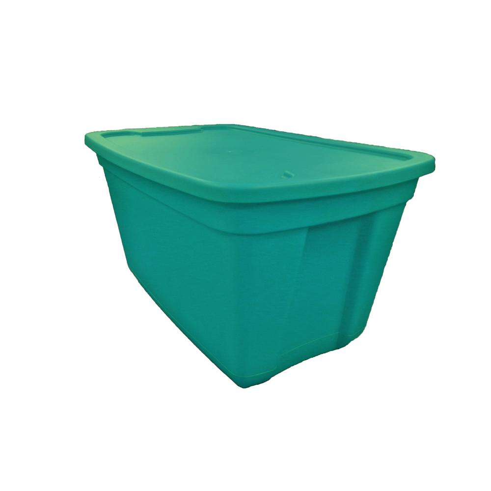 HDX 30 Gallon Storage Tote In Teal