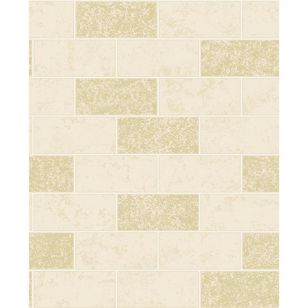 56.4 sq. ft. Ceramica Cream Subway Tile Wallpaper-2900 ...