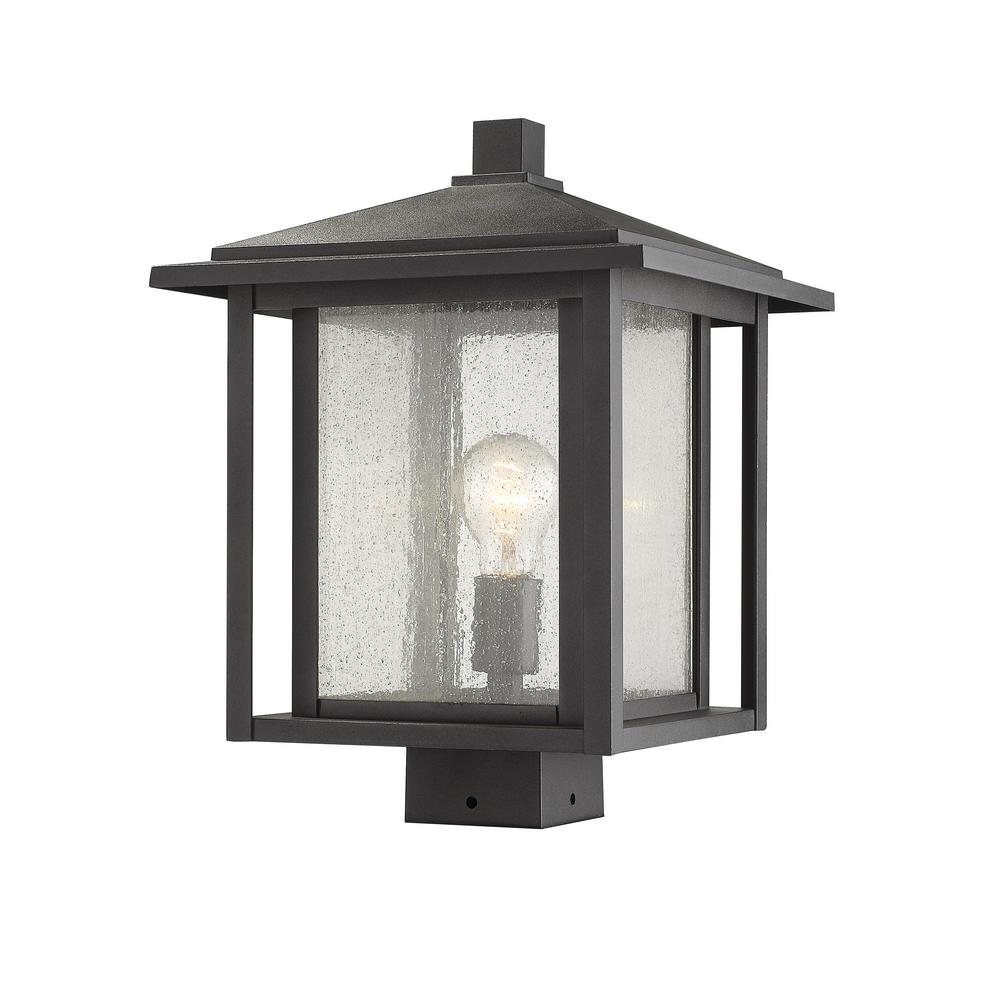 Caspian 1-Light Outdoor Black Post Light with Clear Ribbed Glass