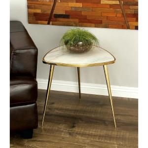 Classic Marble Accent Table in Gold and White by