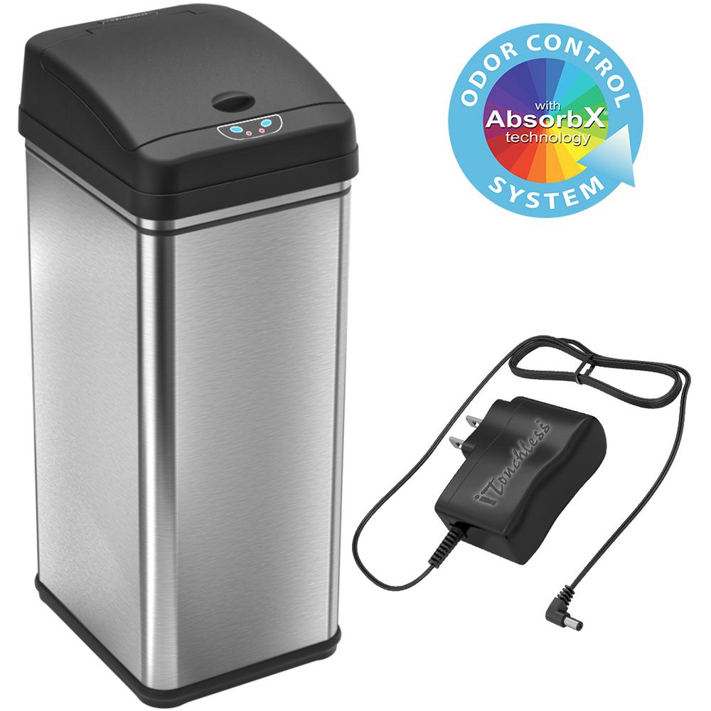 iTouchless 13 Gal. Stainless Steel Motion Sensing Touchless Trash Can with AC Adapter and Odor Control System