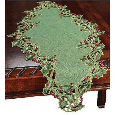 15 in. x 54 in. Green Holiday Holly Embroidered Cutwork Table Runner