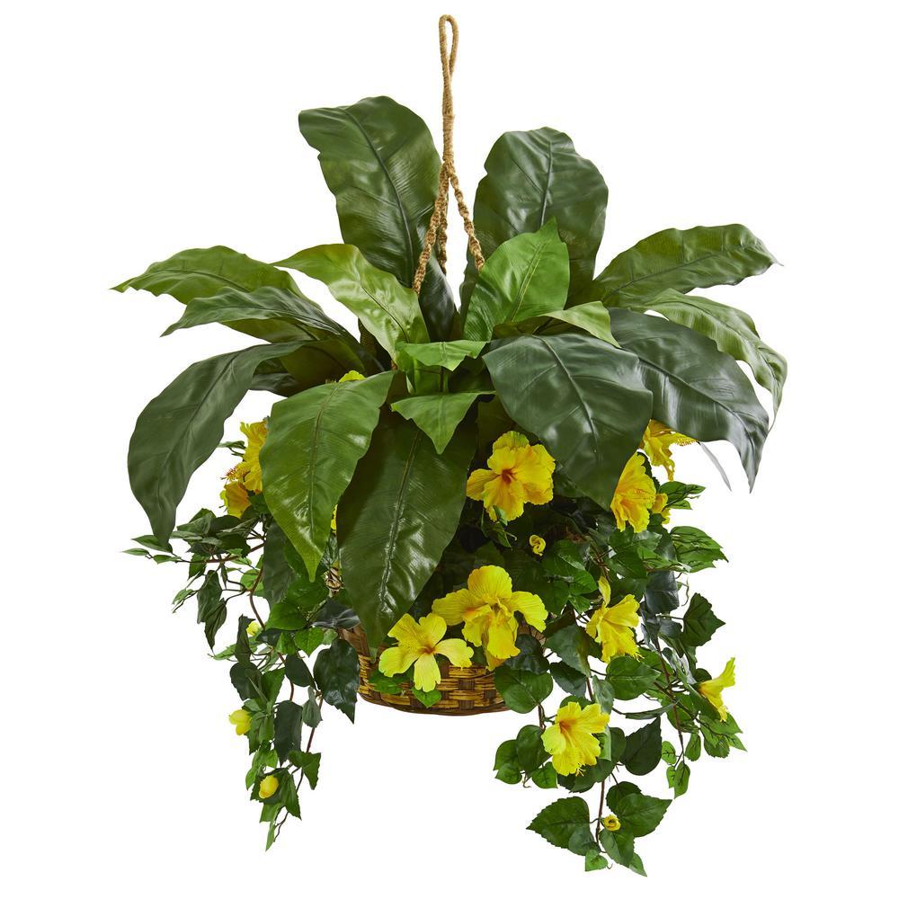 Indoor Birds Nest & Hibiscus Artificial Plant Hanging Basket