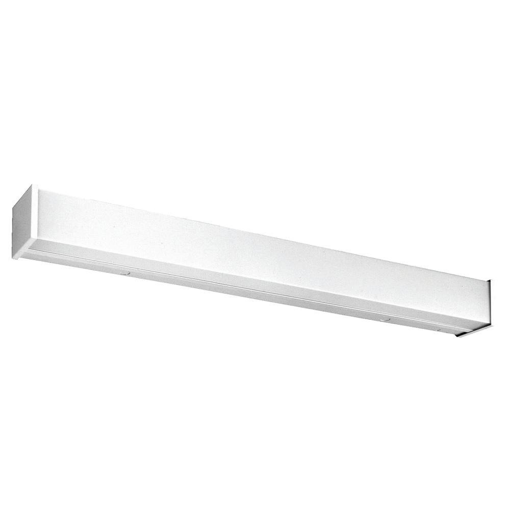 Lithonia lighting 4 ft 2 light wall or ceiling mount fluorescent commercial wall bracket wc 2 for Fluorescent bathroom light fixtures wall mount