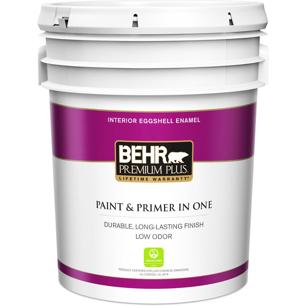 Ordinaire BEHR Premium Plus 5 Gal. Ultra Pure White Eggshell Enamel Low Odor Interior  Paint And