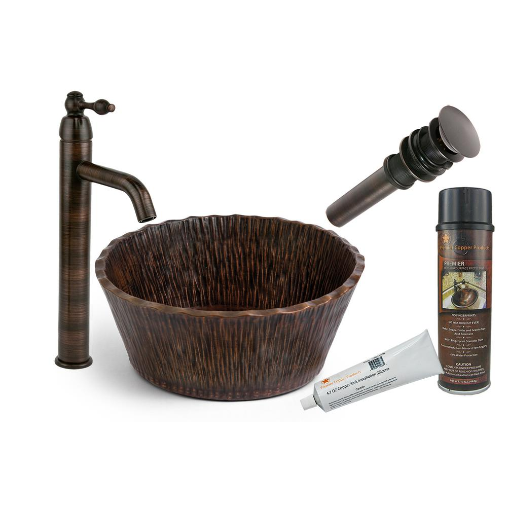 Premier Copper Products All-in-One Round Forest Vessel Sink in Copper with Faucet in Oil Rubbed Bronze