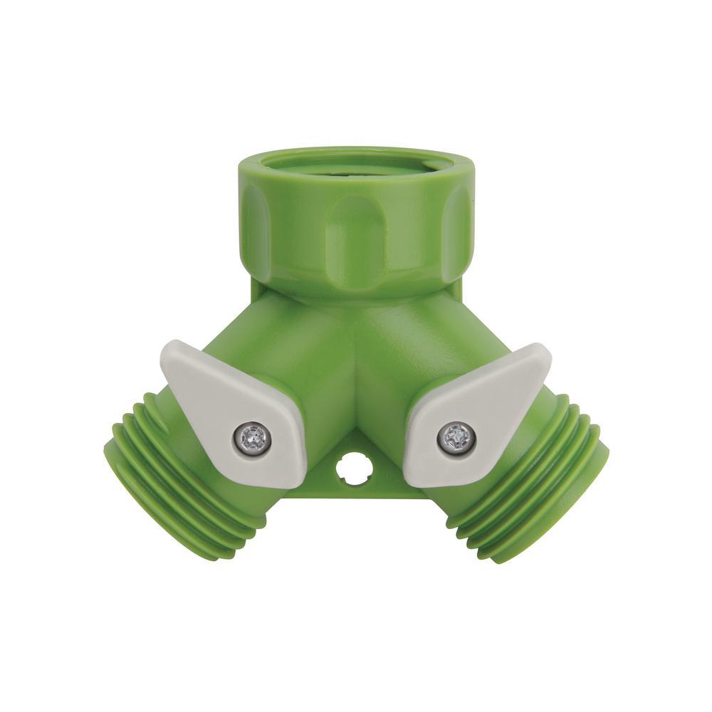 2-Way Garden Hose Tap Adapter Y-Split Connector