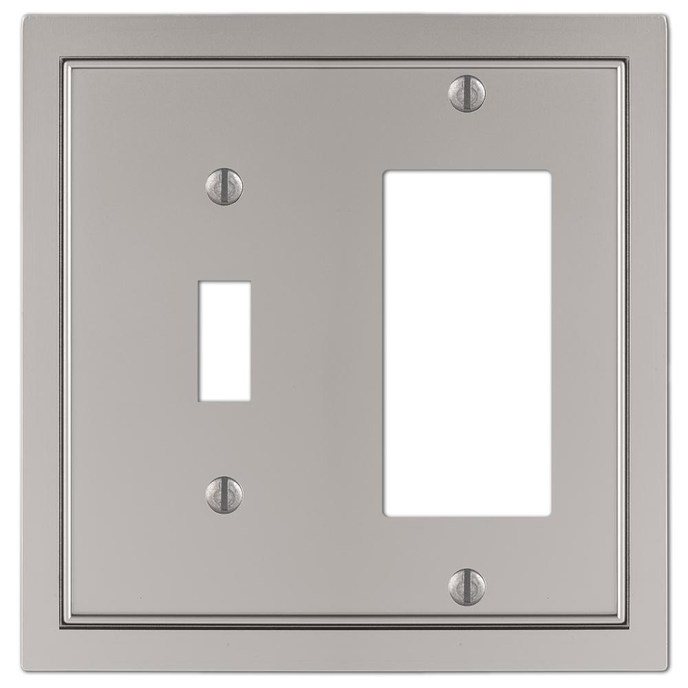 AMERELLE Averly 2 Gang 1-Toggle and 1-Rocker Metal Wall Plate - Satin Nickel