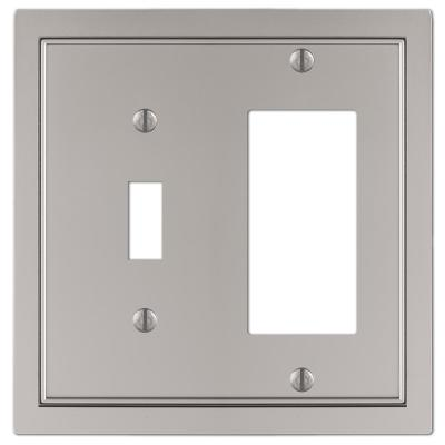 Averly 2 Gang 1-Toggle and 1-Rocker Metal Wall Plate - Satin Nickel
