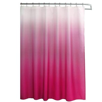 Ombre Waffle Weave 70 in. W x 72 in. L Shower Curtain with Metal Roller Rings in Fuchsia