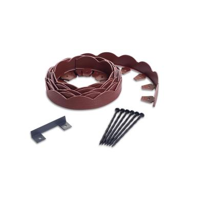 20 ft. Red Scalloped Woodgrain Plastic No-Dig Edging Kit