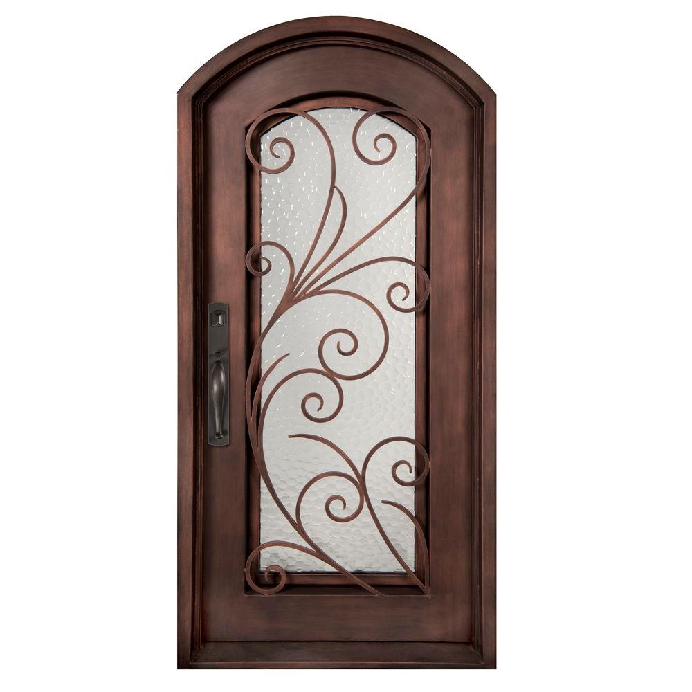 Iron Doors Unlimited 40 in. x 98 in. Flusso Classic Full Lite Painted Bronze Decorative Wrought Iron Prehung Front Door