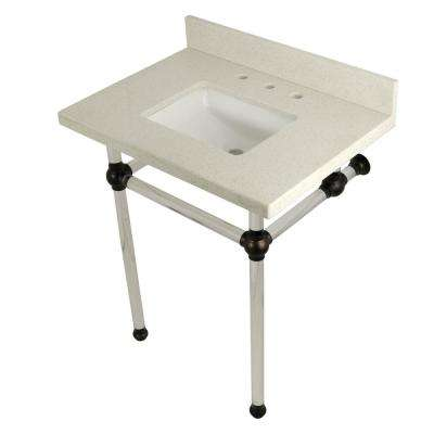Square Washstand 30 in. Console Table in White Quartz with Acrylic Legs in Oil Rubbed Bronze
