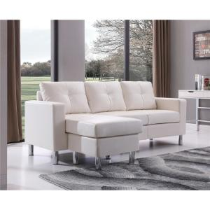 White Small Space Convertible Sectional Sofa 73030-40WH ...