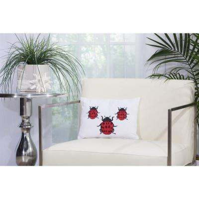 Lady Bugs 10 in. x 14 in. Ivory Indoor and Outdoor Pillow