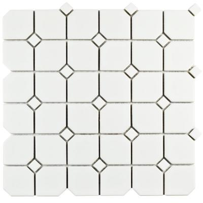 Metro Broadway Matte White with White Dot 11-3/4 in. x 11-3/4 in. x 6mm Porcelain Mosaic Tile