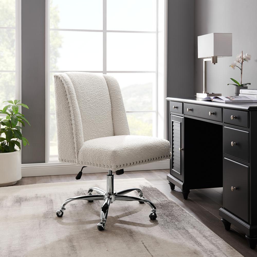 Draper Cream Sherpa Upholstered Swivel Office Chair