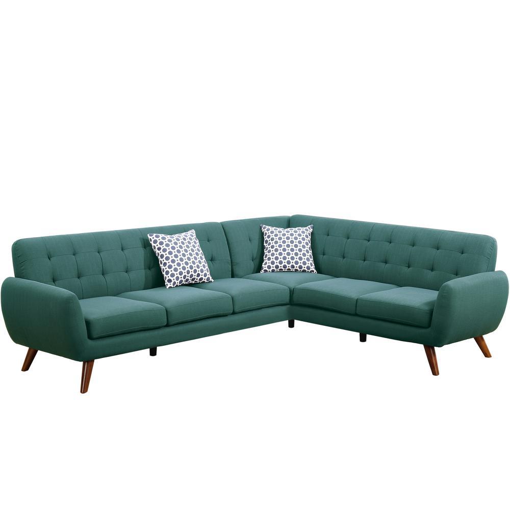 2-Piece Laguna Polyfiber (Linen-Like Fabric) Contemporary Sectional Sofa
