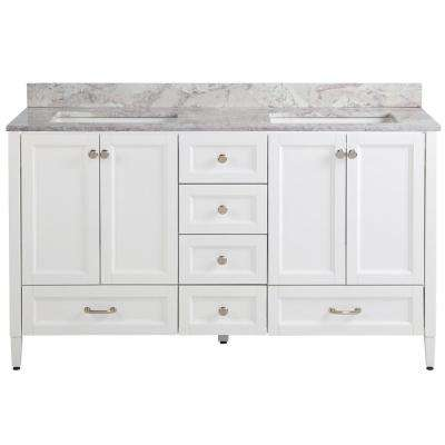Claxby 61 in. W x 22 in. D Vanity in White with Stone Effect Vanity Top in Winter Mist with White Sink