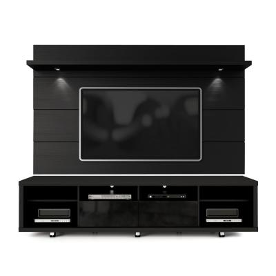 Cabrini 86 in. Black Engineered Wood Entertainment Center with 2 Drawer Fits TVs Up to 70 in. with Wall Panel