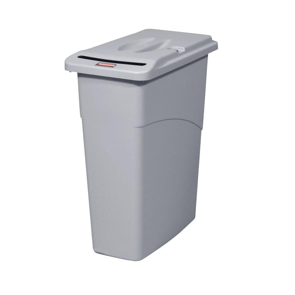 Rubbermaid Commercial Products Slim Jim 23 Gal. Grey Confidential Document Trash Can with Lid