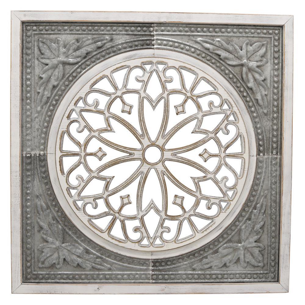 THREE HANDS White Metal/Wood Wall Decor-66747
