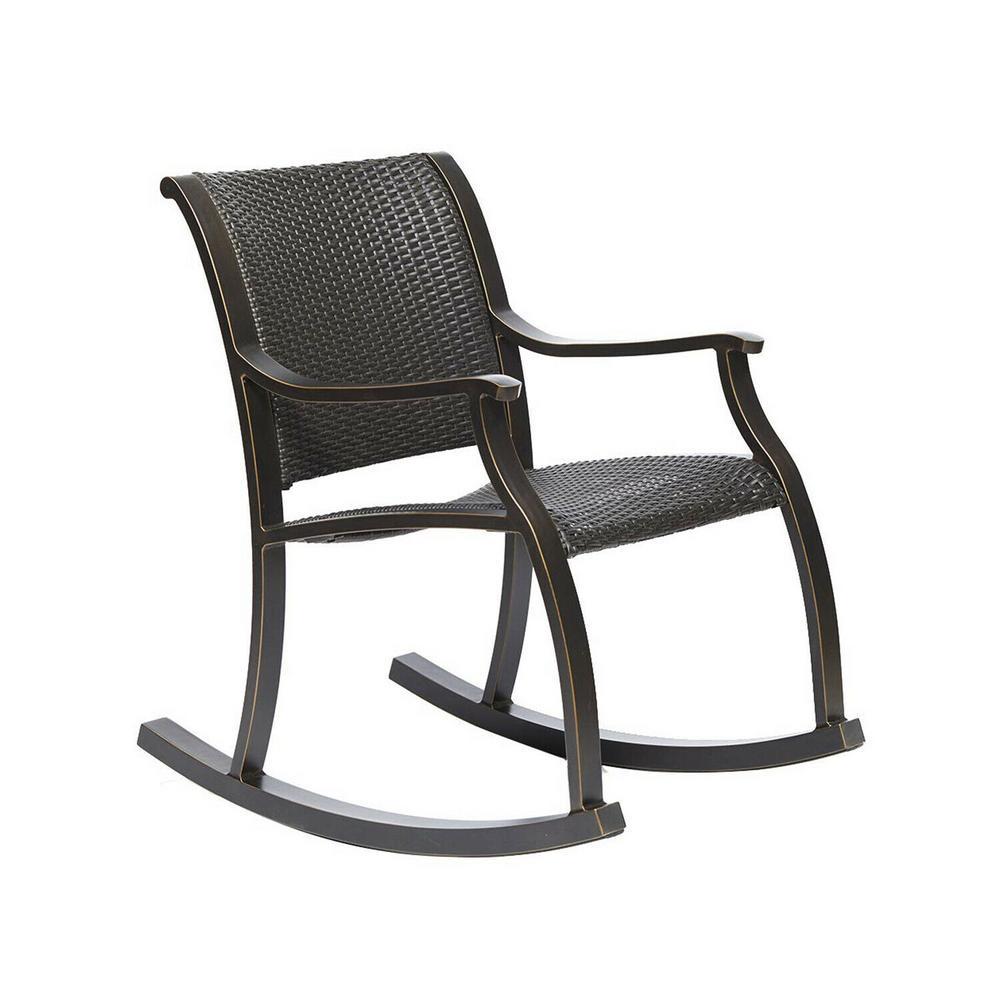 Brown Rattan Aluminium Outdoor Patio Rocking Rocker Chair