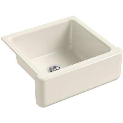 Whitehaven Farmhouse Apron-Front Cast Iron 24 in. Single Basin Kitchen Sink in Biscuit