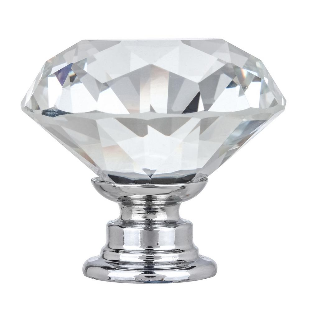 Kingsman Hardware Kingsman Crystal Series 1-3/8 in. (35 mm) Dia Clear K9 Crystal with Chrome Base Cabinet Knob (50-Pack)