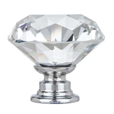 Kingsman Crystal Series 1-3/8 in. (35 mm) Dia Clear K9 Crystal with Chrome Base Cabinet Knob (50-Pack)