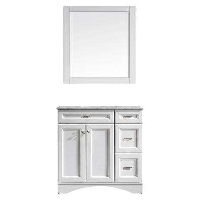 Naples 36 in. W x 22 in. D x 35 in. H Vanity in White with Marble Vanity Top in White with Basin and Mirror
