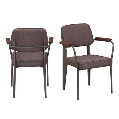 Ashtyn Brown Fabric Chair (Set of 2)
