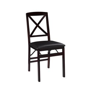 Admirable Linon Home Decor Triena Expresso X Back Folding Chairs Set Squirreltailoven Fun Painted Chair Ideas Images Squirreltailovenorg