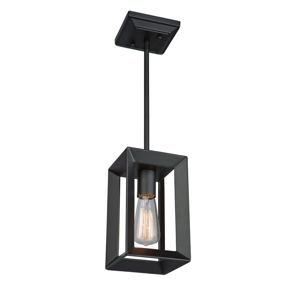 ARTCRAFT Vineyard 1-Light Oil-Rubbed Bronze Pendant The Vineyard collection features a simple and sophisticated design with square tubing and glass bobech. Comes in a matte black finish (1 light pendant)