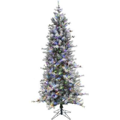 9 ft. Buffalo Fir Slim Artificial Christmas Tree with Multi-Color LED String Lighting