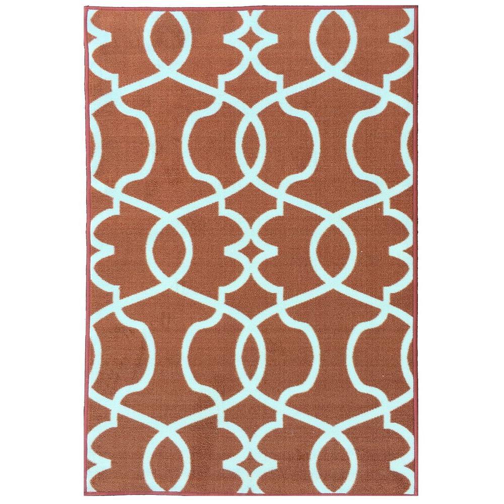 Rose Collection Contemporary Geometric Trellis Design Orange 5 ft. x 7 ft. Non-Skid Area Rug