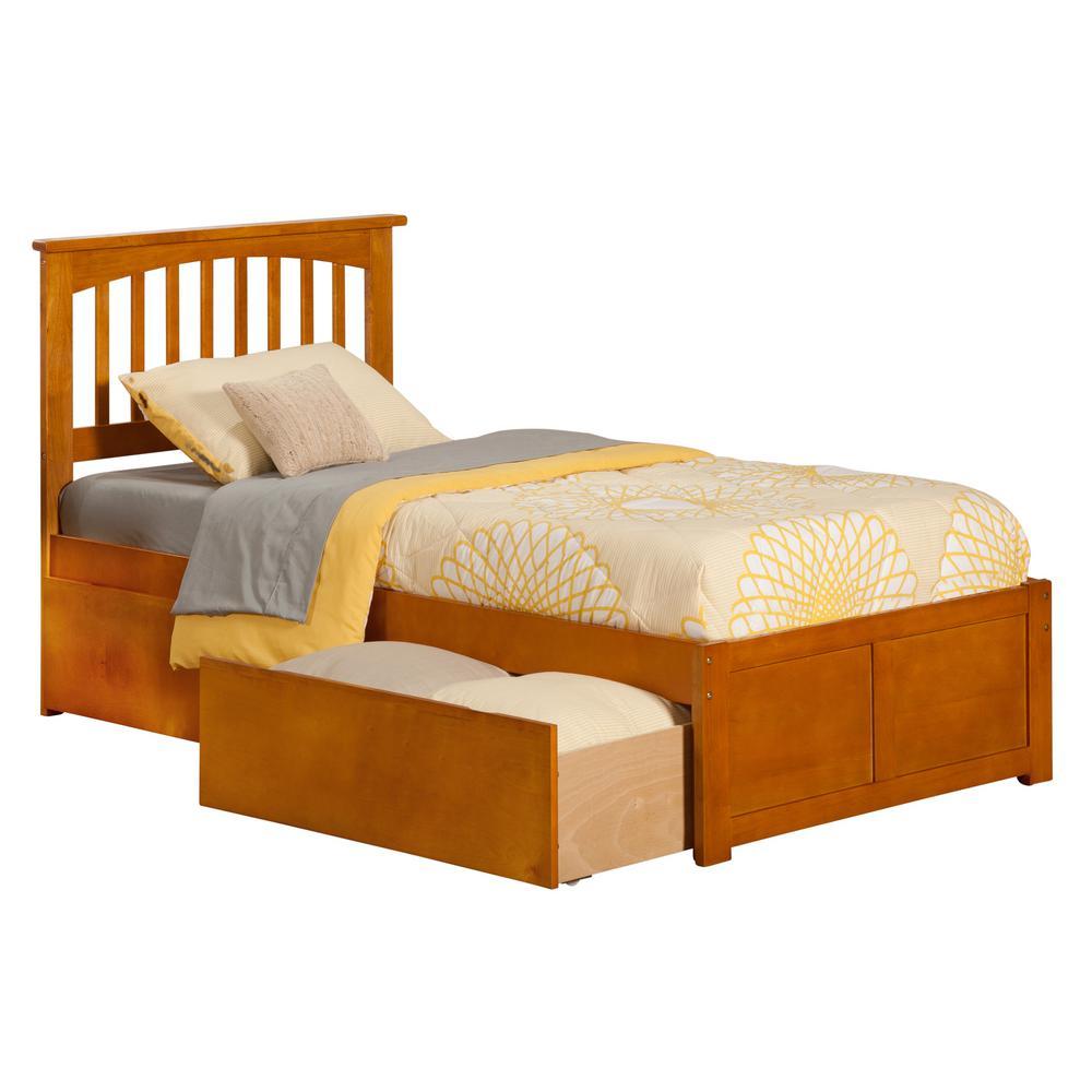 Atlantic Furniture Mission Caramel Twin Platform Bed with ...