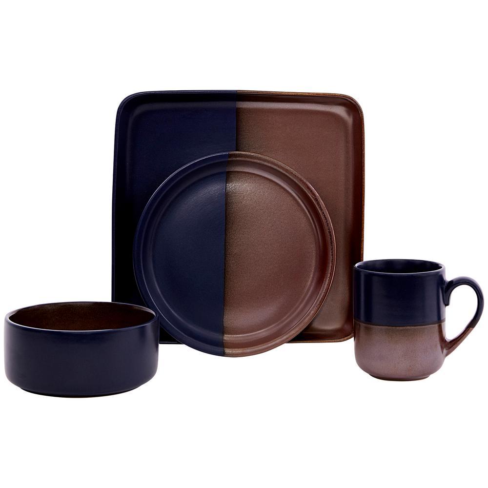 Contrast 16-Piece Copper Ceramic Dinnerware Set (Service for 4)