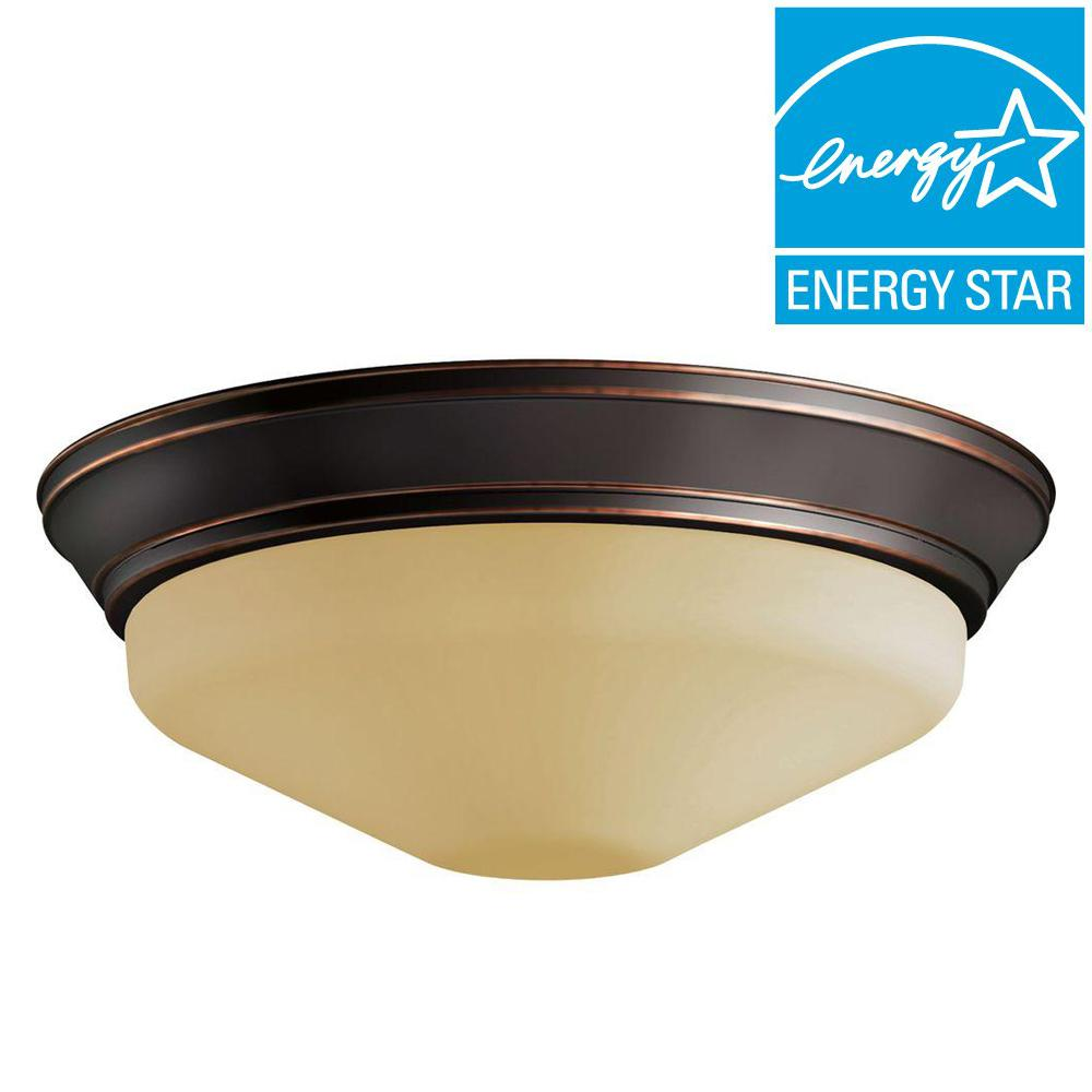 1-Light Antique Bronze LED Flushmount