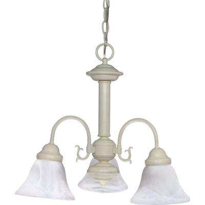 3-Light Textured White Chandelier with Alabaster Glass Bell Shades