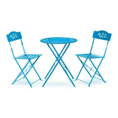 Indoor/Outdoor 3-Piece Bistro Set Folding Table and Chairs Patio Seating, Blue