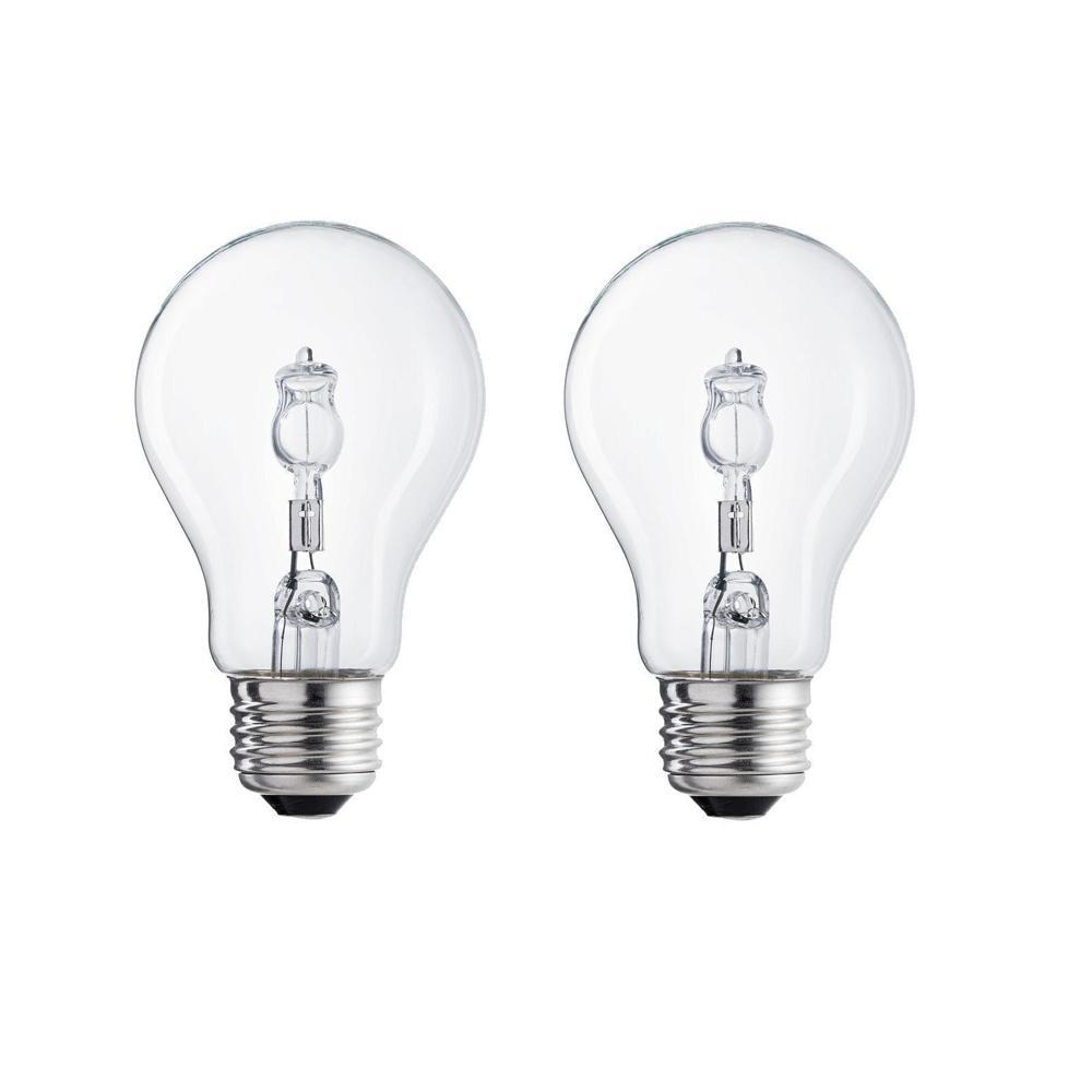 Ecosmart 100 Watt Equivalent A19 Halogen Light Bulb 2 Pack 324459 The Home Depot