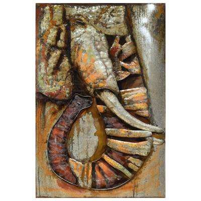 """60 in. x 40 in. """"Elephant"""" Mixed Media Iron Hand Painted Dimensional Wall Art"""