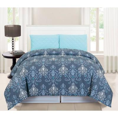 Lucienda Queen 3 Piece Duvet Set in Grey-Blue