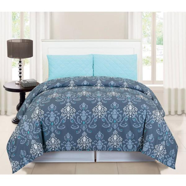 Duck River Lucienda Queen 3 Piece Duvet Set in Grey-Blue LUD1B=6
