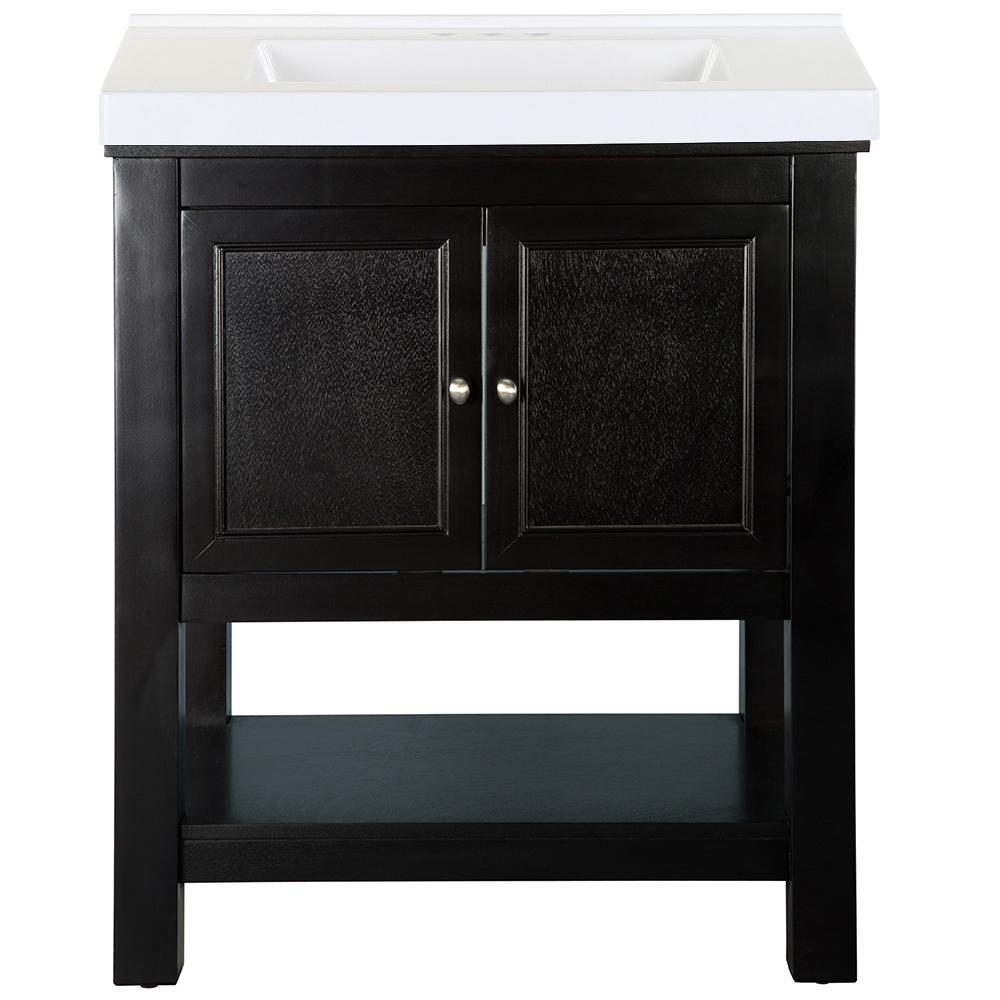 Home Decorators Collection Gazette 31 in. W x 22 in. D Bath Vanity in Espresso with Cultured Marble Vanity Top in White with White Sink was $769.0 now $461.4 (40.0% off)